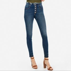Express High Waisted Button Fly Skinny Jeans (4)
